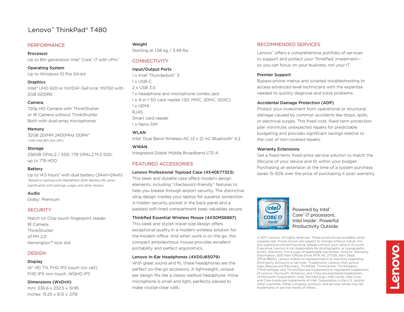 ThinkPad T480 Datenblatt
