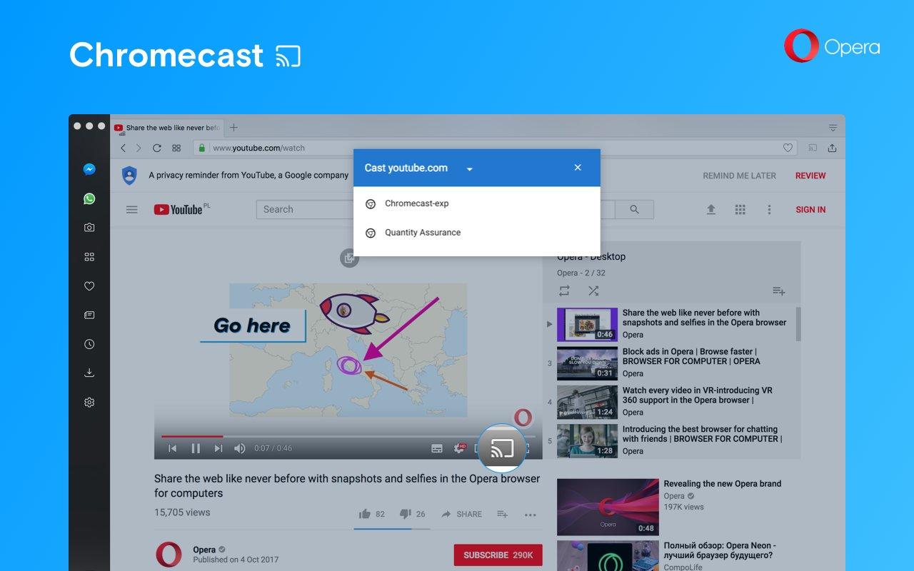 Opera 50 mit Chromecast-Unterstützung