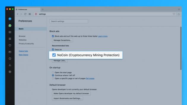 NoCoin: Opera geht gegen verstecktes Mining im Browser vor