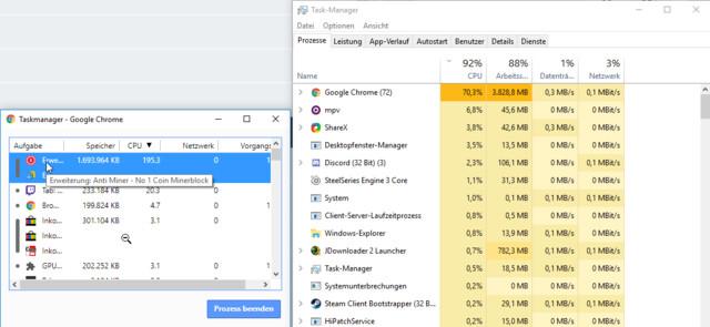 Der Screenshot belegt, dass Anti Miner eine hohe CPU-Last erzeugt