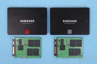 Samsung SSD 860 Pro (links) und Evo zerlegt