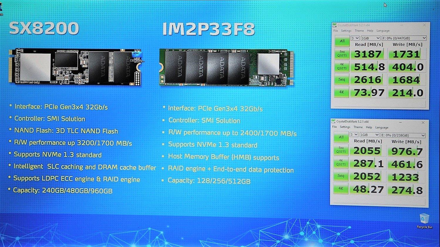 Adata SX8200 (Client) und IM2P33F8 (Server)