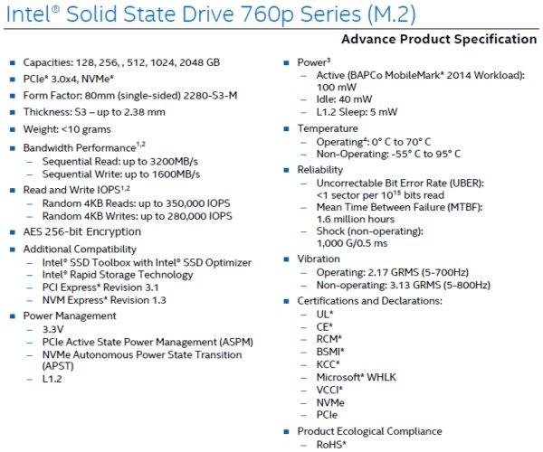Datenblatt zur Intel SSD 760p durchgesickert