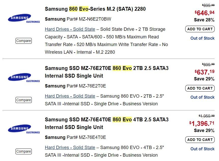 Samsung 860 Evo in diversen Varianten