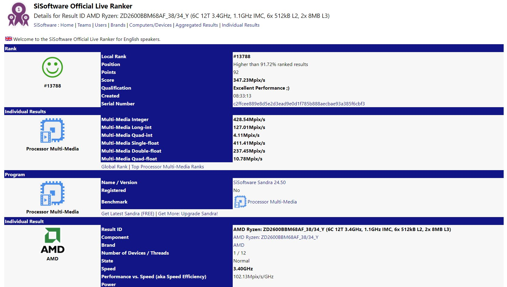 AMD Ryzen 5 2600 als Qualification Sample mit 3,4 GHz