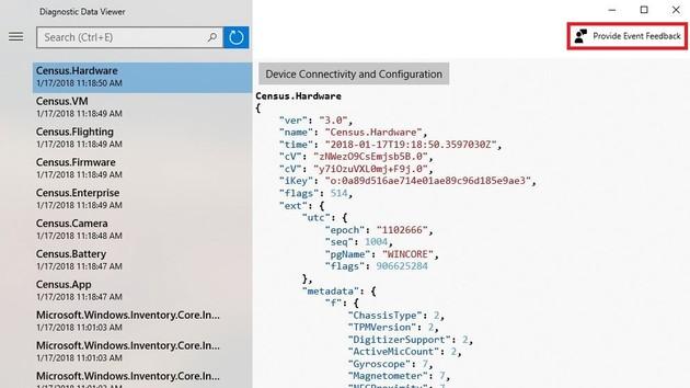 Windows 10: Diagnostic Data Viewer zeigt an Microsoft gesendete Daten