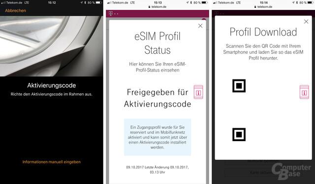 Der QR-Code (hier entfernt) muss von der Watch-App fotografiert werden