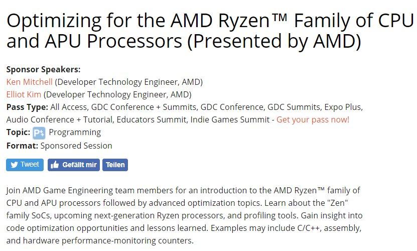 AMD-Session zur GDC 2018 thematisiert auch die zweite Ryzen-Generation