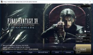 Menü des Final Fantasy XV Benchmark