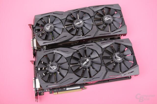 Asus RX Vega 64 Strix (oben) und RX Vega 56 Strix (unten)