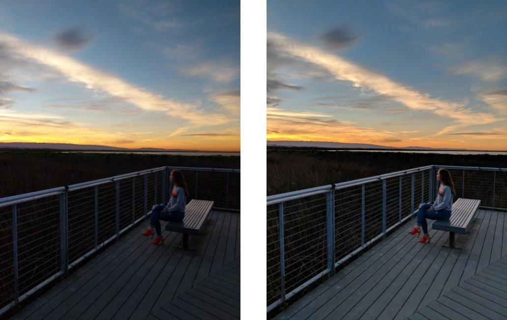 Aufnahme ohne (l.) und mit (r.) Pixel Visual Core