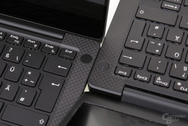 An/Aus-Schalter mit Fingerabdrucksensor (l.)