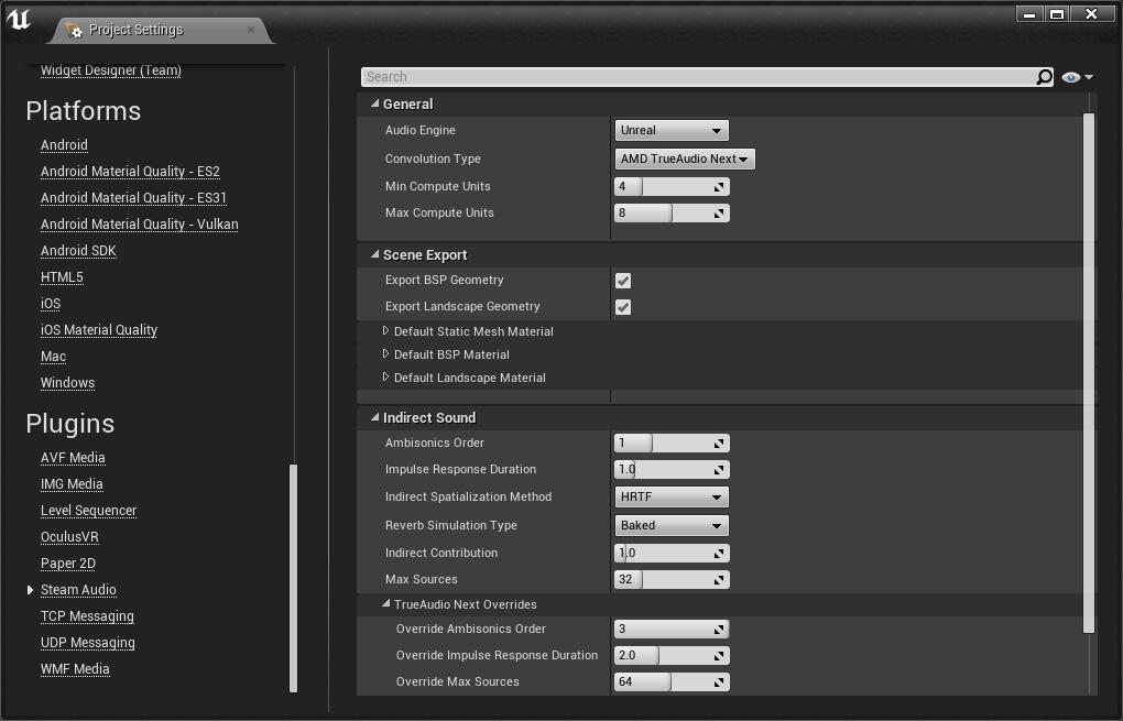 Integration von TrueAudio Next in Unity über Steam Audio