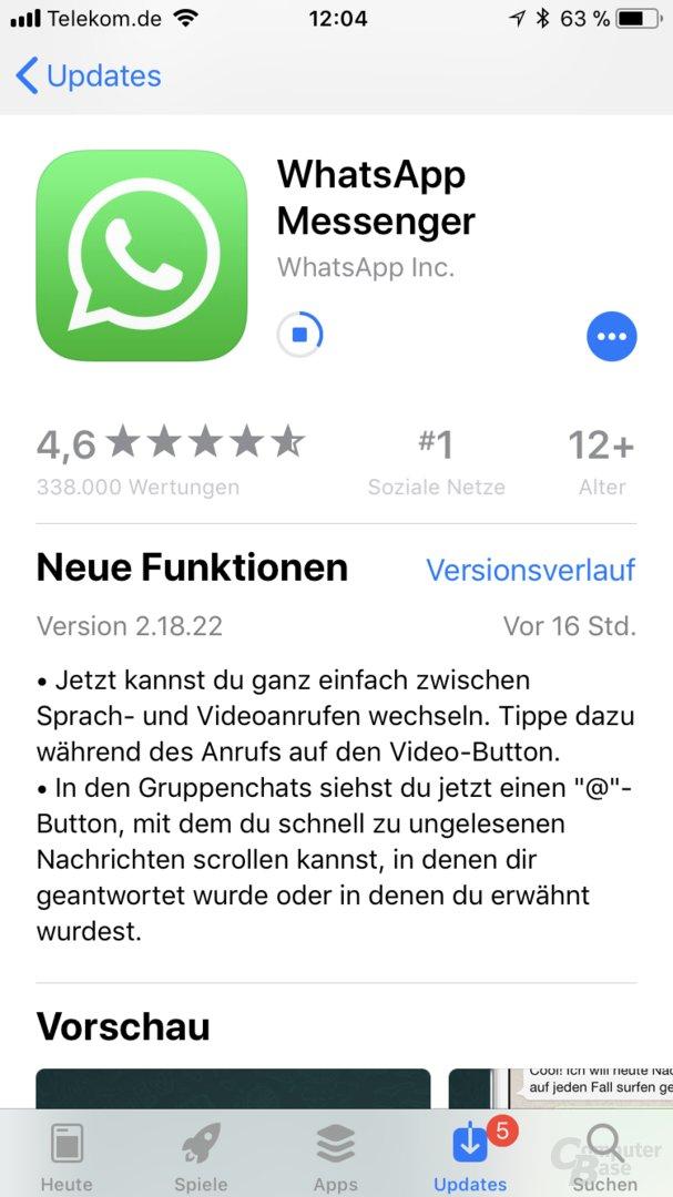 WhatsApp 2.18.22 für iOS