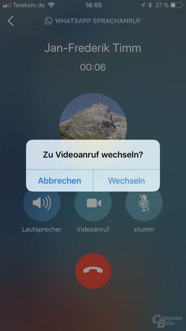 Wechsel zum Videoanruf in WhatsApp