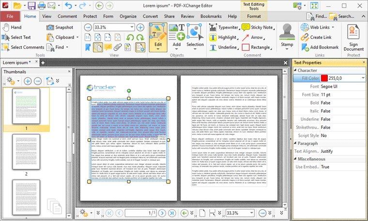 PDF-XChange Editor – Editing