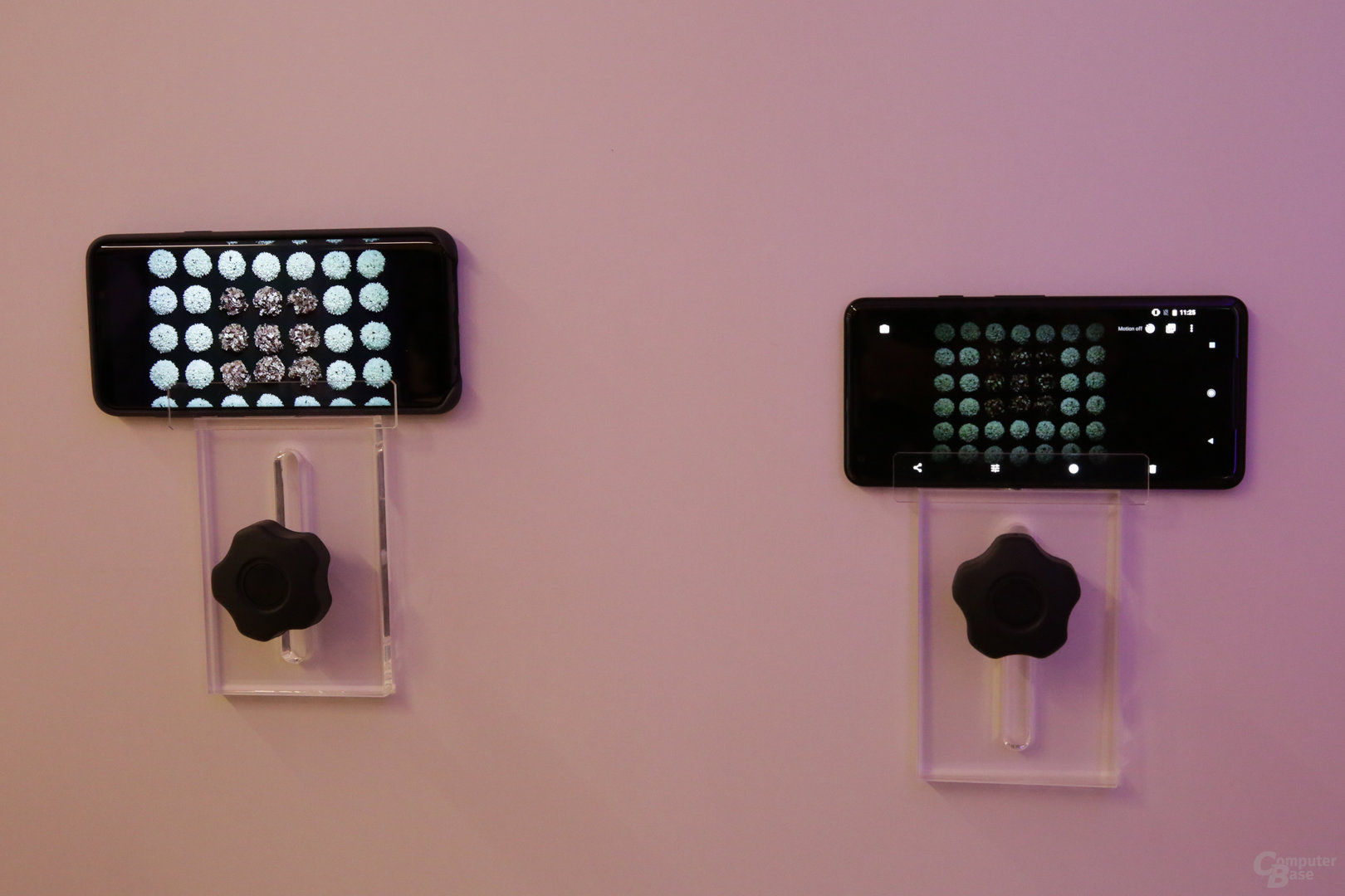 Aufnahmequalität bei schlechtem Licht (Galaxy S9 links)