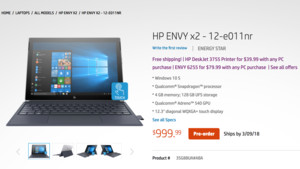 Jetzt verfügbar: HP Envy x2 mit Snapdragon 835 und Windows 10 für $1000