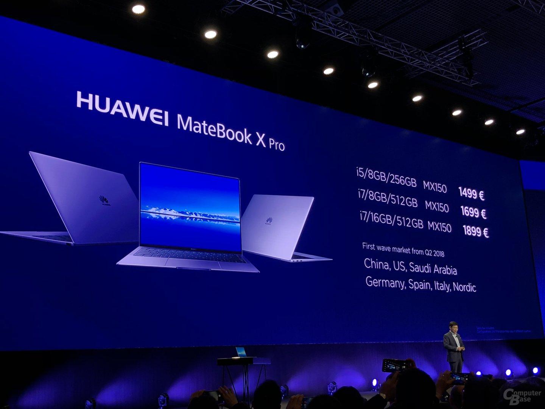 Das MateBook X Pro erscheint in drei Varianten