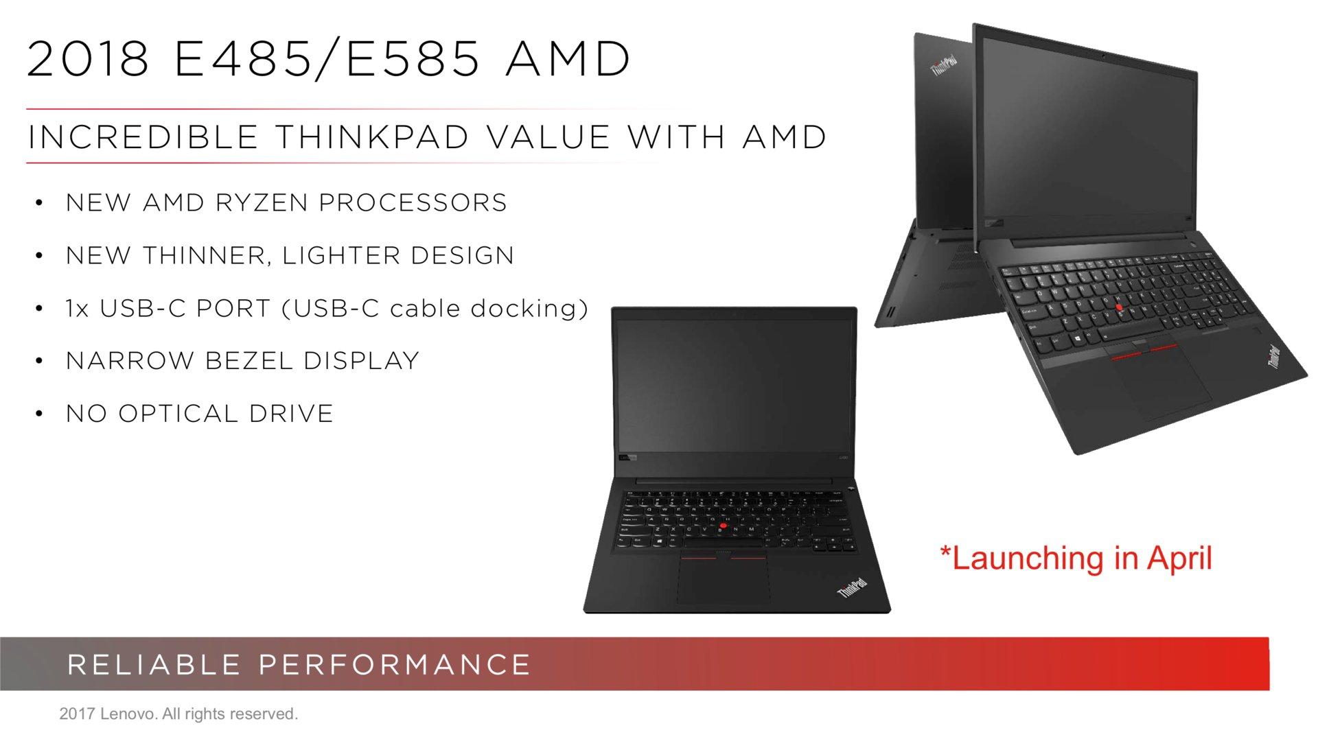 Lenovo ThinkPad E485 und E585 mit AMD Ryzen Mobile