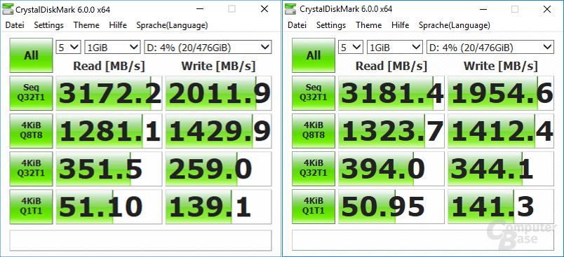 Z370 Aorus (links) vs Z370P D3 (rechts)