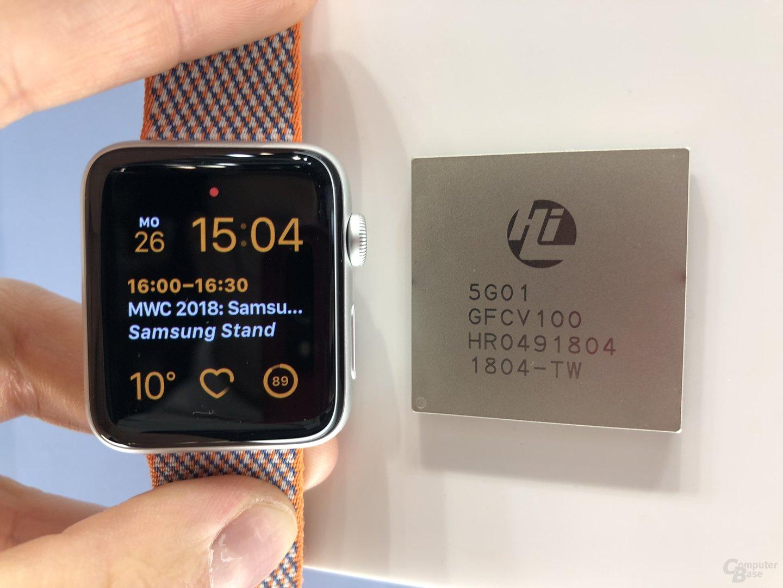 HiSilicon Balong 5G01 im Vergleich mit Apple Watch