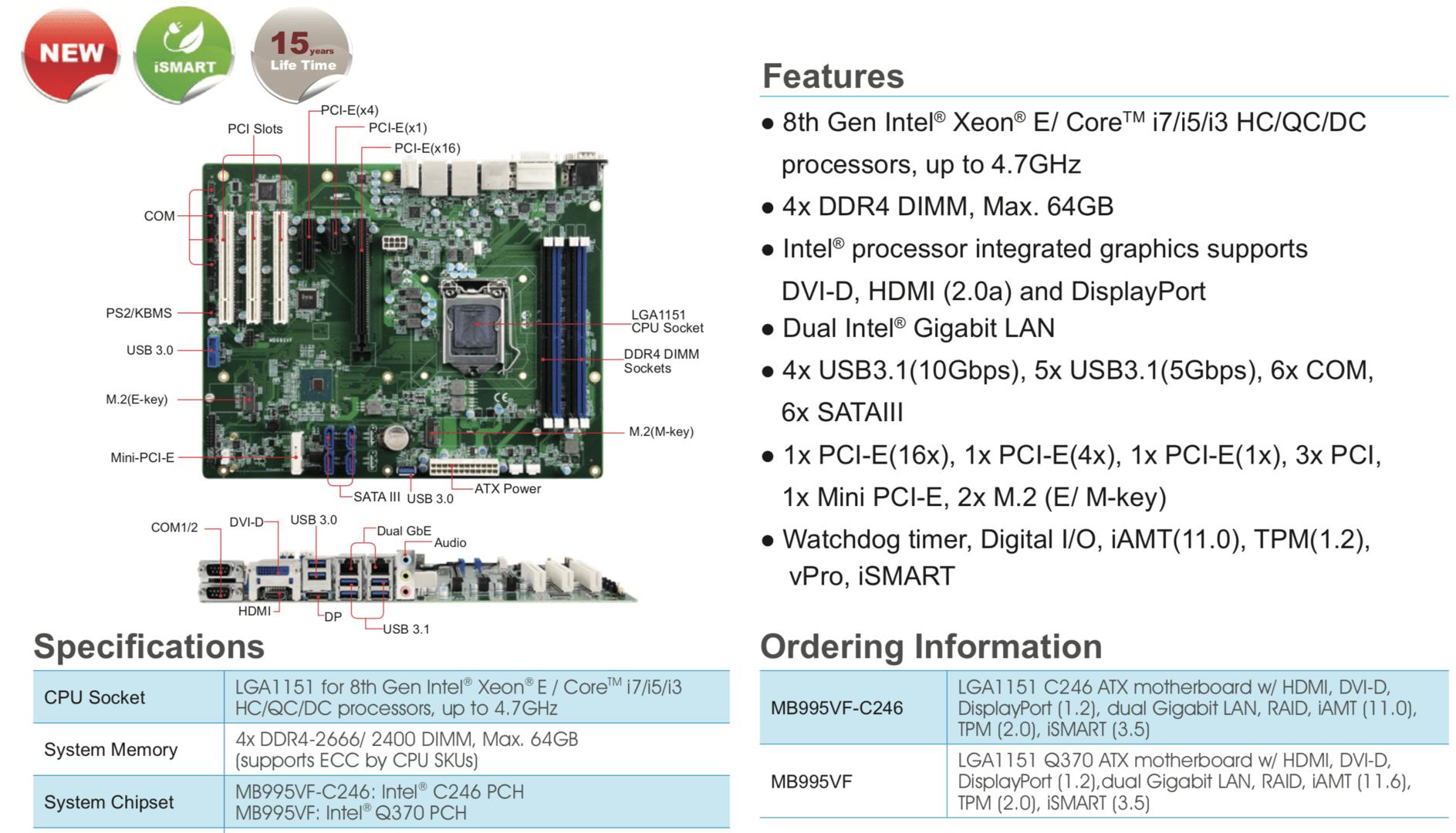 LGA-Mainboard für sockelbare Intel Xeon E