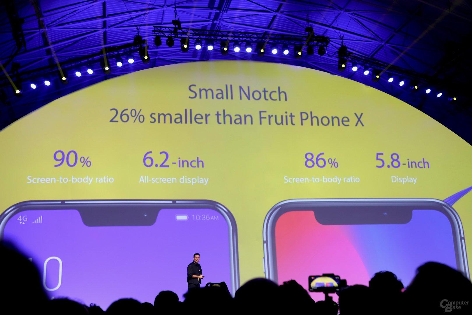 """Die Kerbe bei Asus ist kleiner als die vom """"Frucht Phone X"""""""