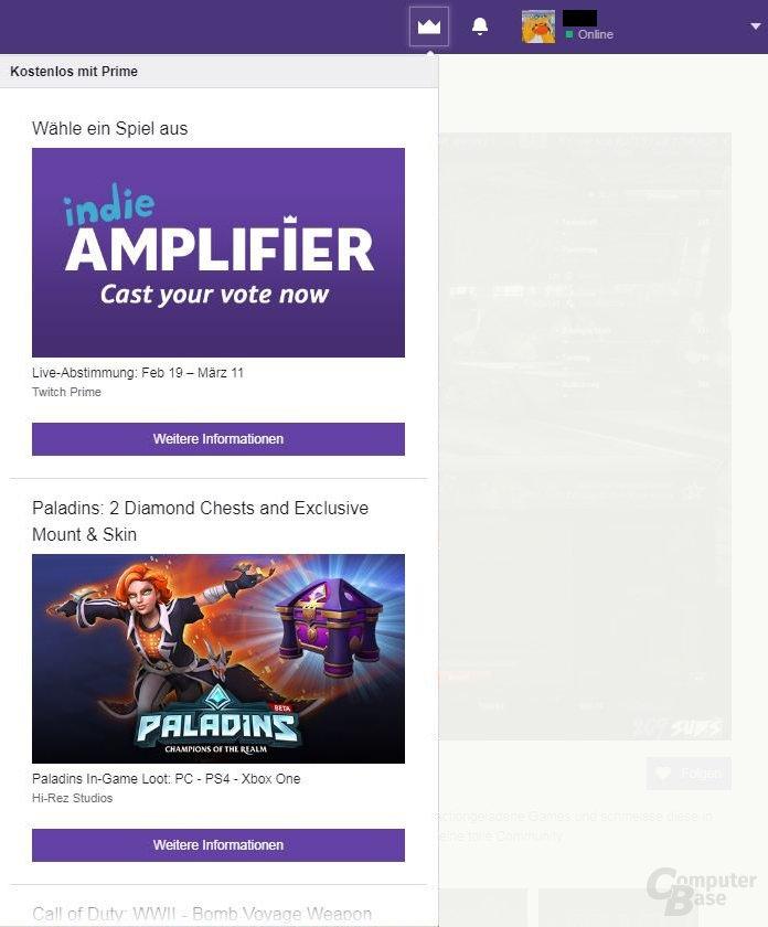 Twitch – Prime Loot Übersicht