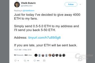 Fake-Tweet von Vitalik Buterin