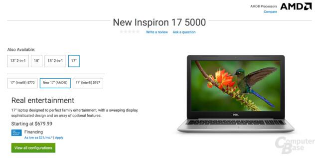 Dells Inspiron 17 5000 mit AMD Ryzen Mobile (Raven Ridge)