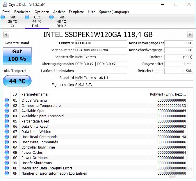 Informationen zur Intel Optane 800P mit 118 GB