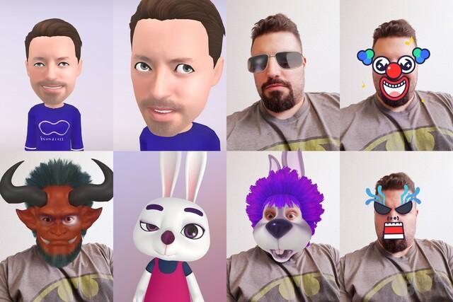 Beispiel für AR Emoji und verschiedene Masken