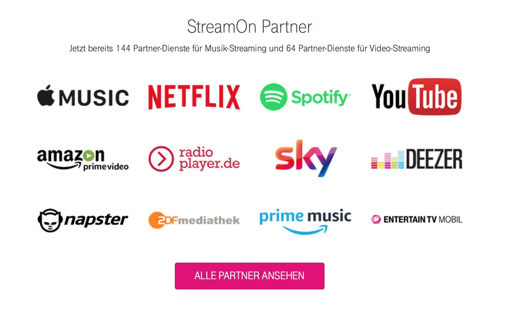 Die aktuell größten Partner von Telekom StreamOn