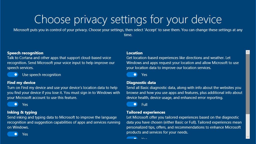 Windows 10: Datenschutzeinstellungen für Redstone 4 im A/B-Test