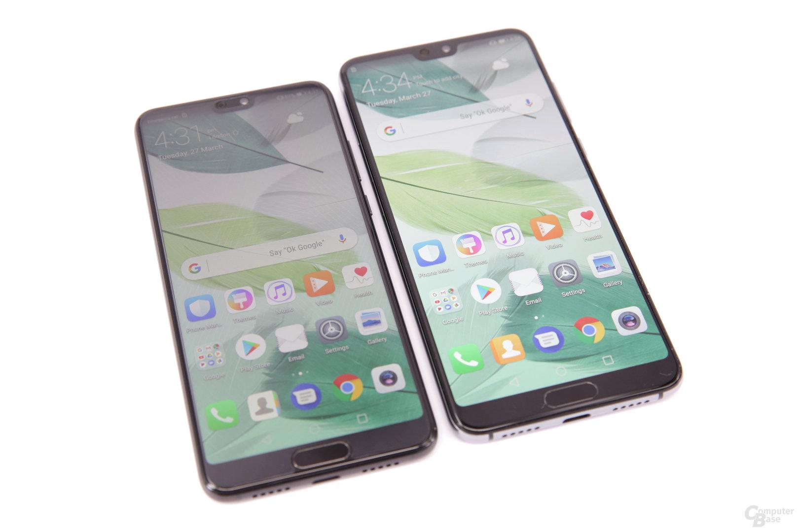 Huawei P20 neben Huawei P20 Pro