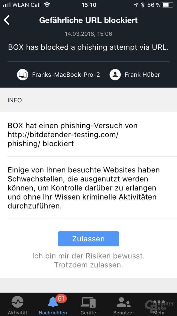 Bitdefender Box: Geblockter Phishing-Test