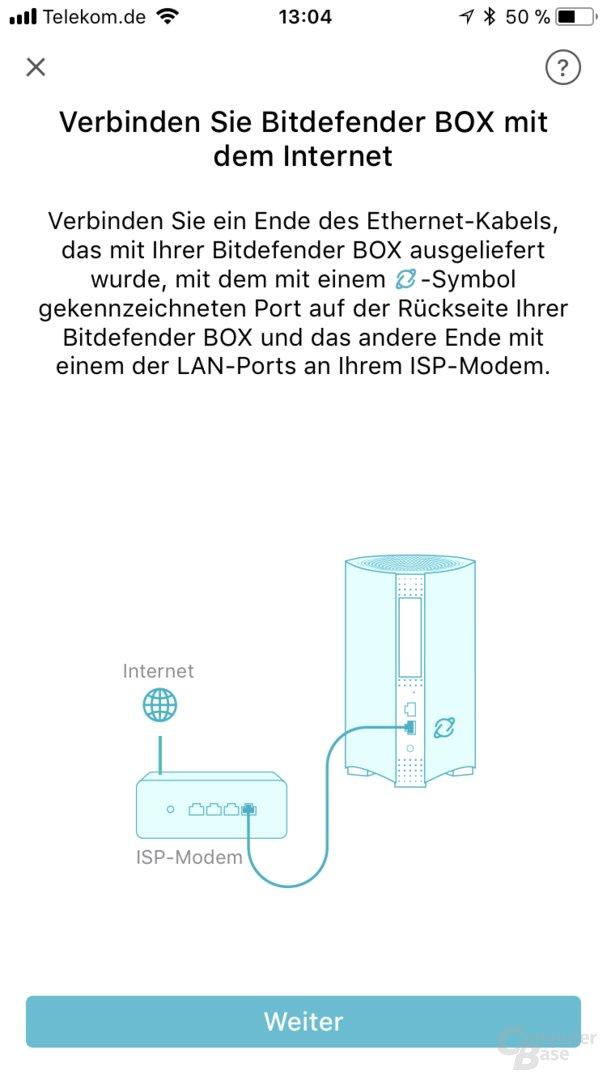 Einrichtung der Bitdefender Box