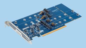 Gigabyte-Adapterkarte: 4 × M.2-SSD mit Temperatur-Sensoren auf PCIe x16