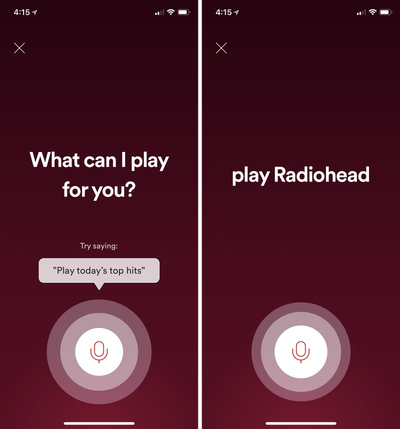 Spotify Sprachsuche in der iOS-App