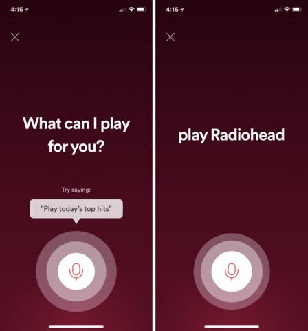 Spotify Sprachsuche in der iOS-App