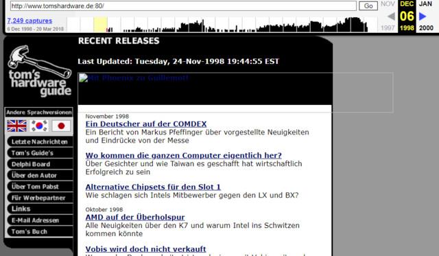 tomshardware.de im Dezember 1998