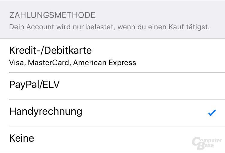 Zahlungsmethode Handyrechnung