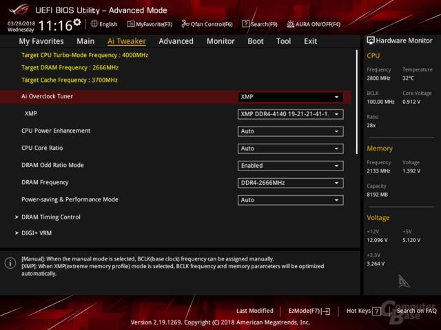 XMP erkennt DDR4-4133 aber stellt automatisch DDR4-2666 ein