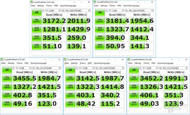 Von links oben: Gigabyte Z370 Aorus & Z370P D3, Asus H370-F und Gigabyte H370 Aorus, Asus B360-F