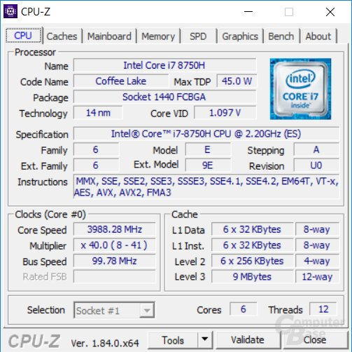 Intel Core i7-8750H im Notebook