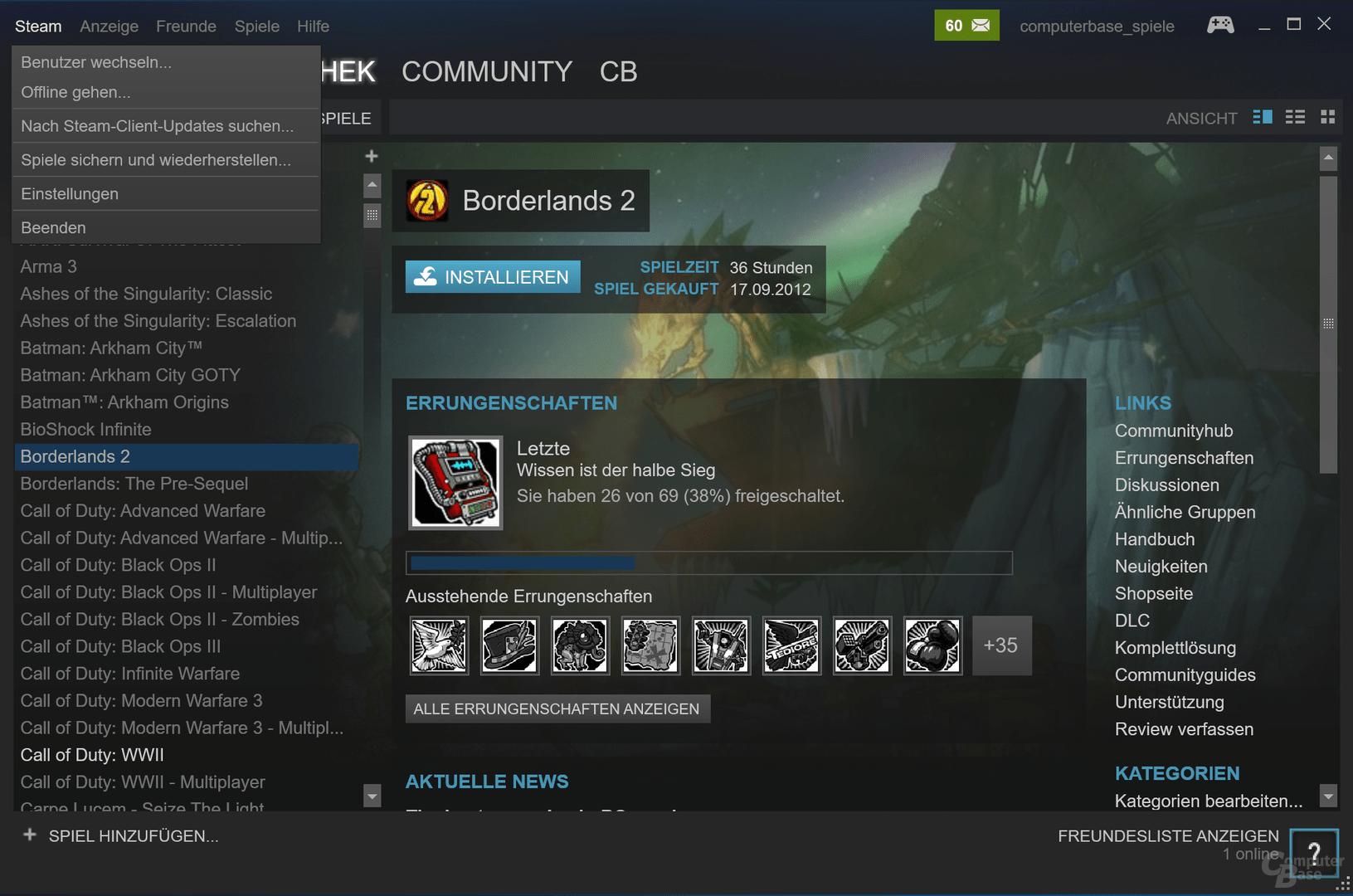 Neue Steam-Version auf einem UHD-Monitor mit 150 Prozent Windows-Zoom