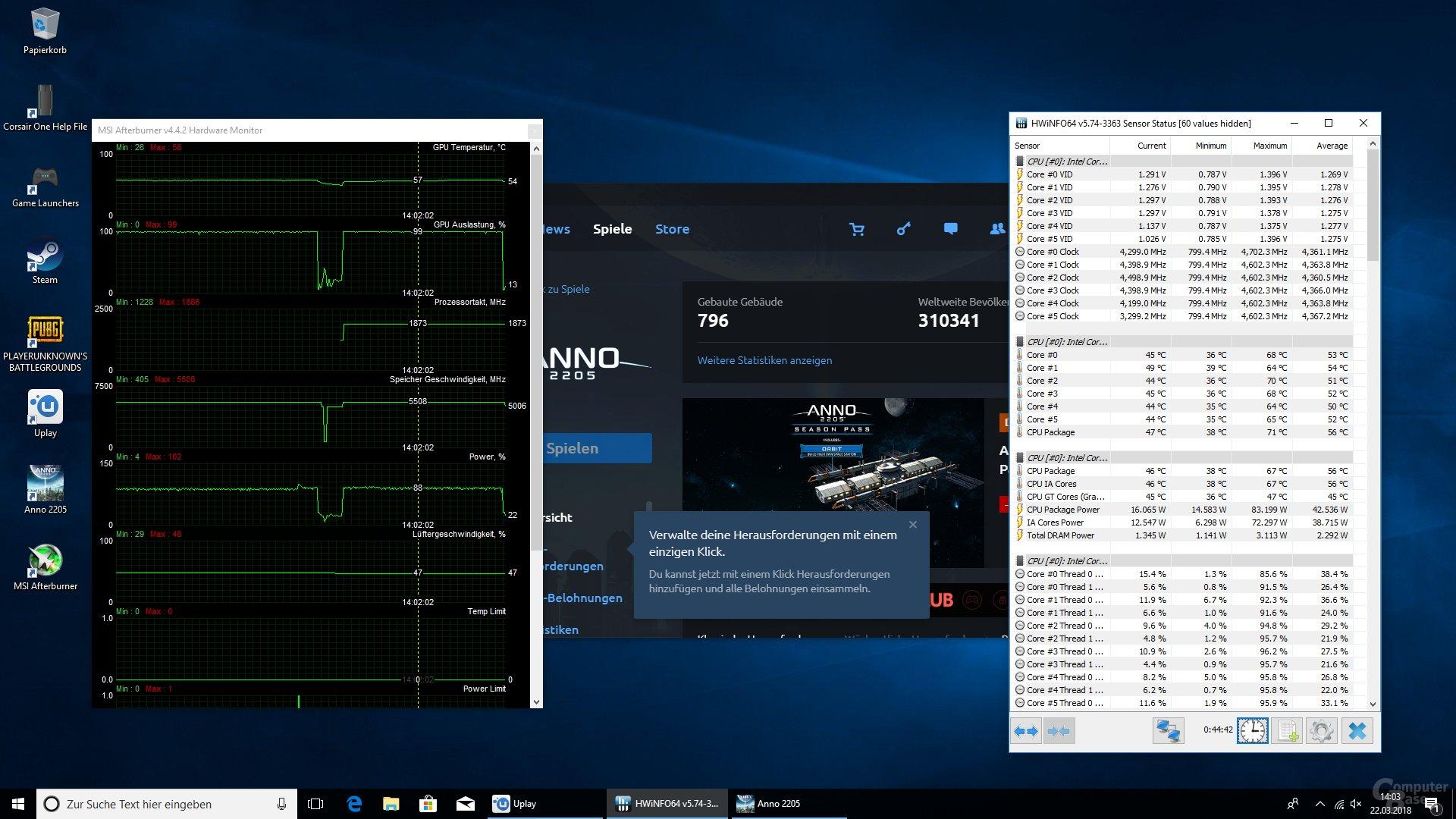 Spiele lasten die CPU nicht so stark aus, hier werden höhere Taktraten möglich
