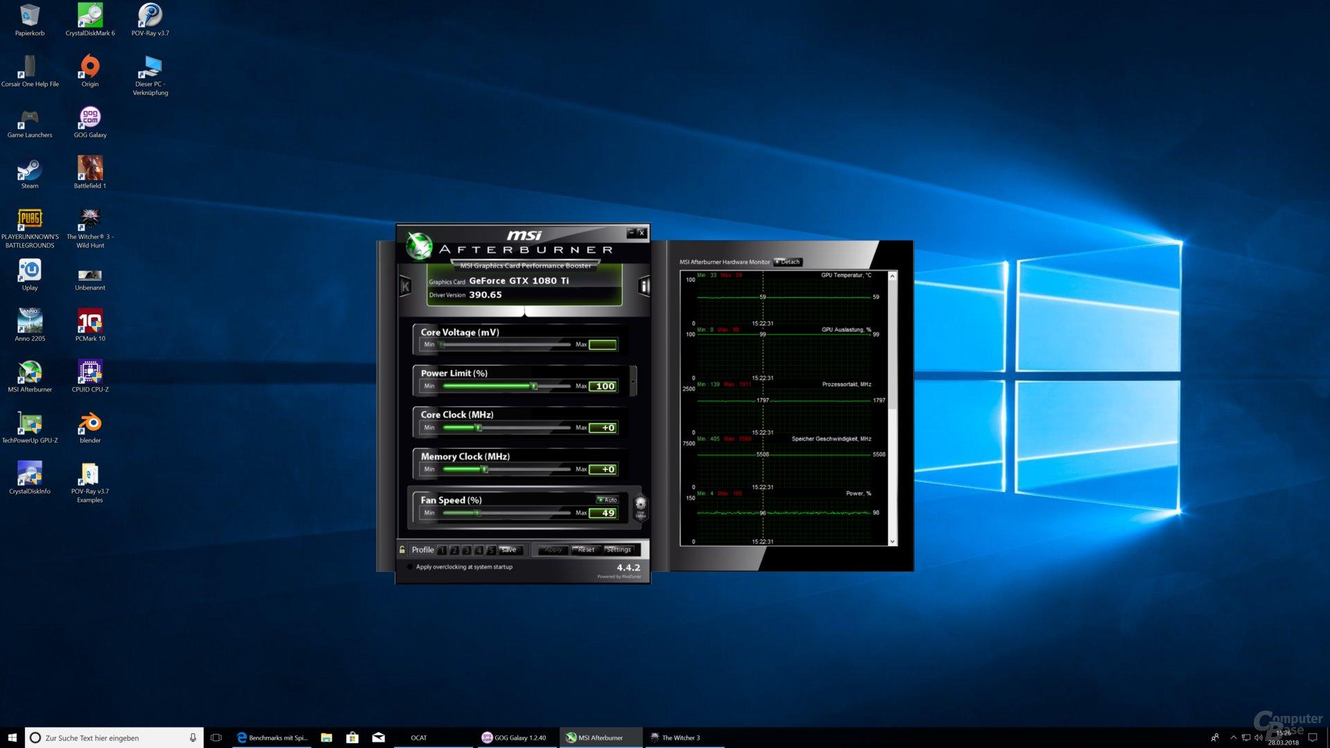In The Witcher 3 (UHD) liegt die GeForce GTX 1080 Ti bei rund 1.800 MHz