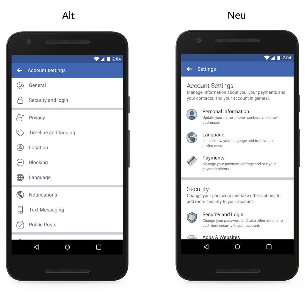 Facebook: Vereinfachte Optionen für Mobil-App